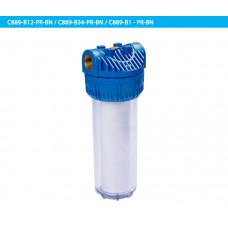 """10"""" Прозрачный корпус (Big Flow) + синяя крышка с кнопкой сброса давления."""