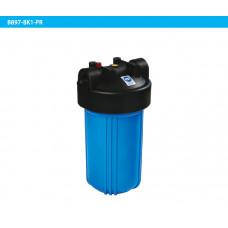 """10"""" Синий корпус (Big Blue) + черная крышка с резьбой BSP 1"""" и кнопкой сброса давления"""