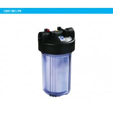 """10"""" Прозрачный корпус (Big Blue) + черная крышка с резьбой BSP 1"""" и кнопкой сброса давления"""